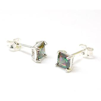 TOC Sterling Zilver Mystic Quarts Square Stud Earrings Stud Earrings