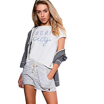 Double Agent Relaxed Raw Hem Shorts With Grey Strip Pattern