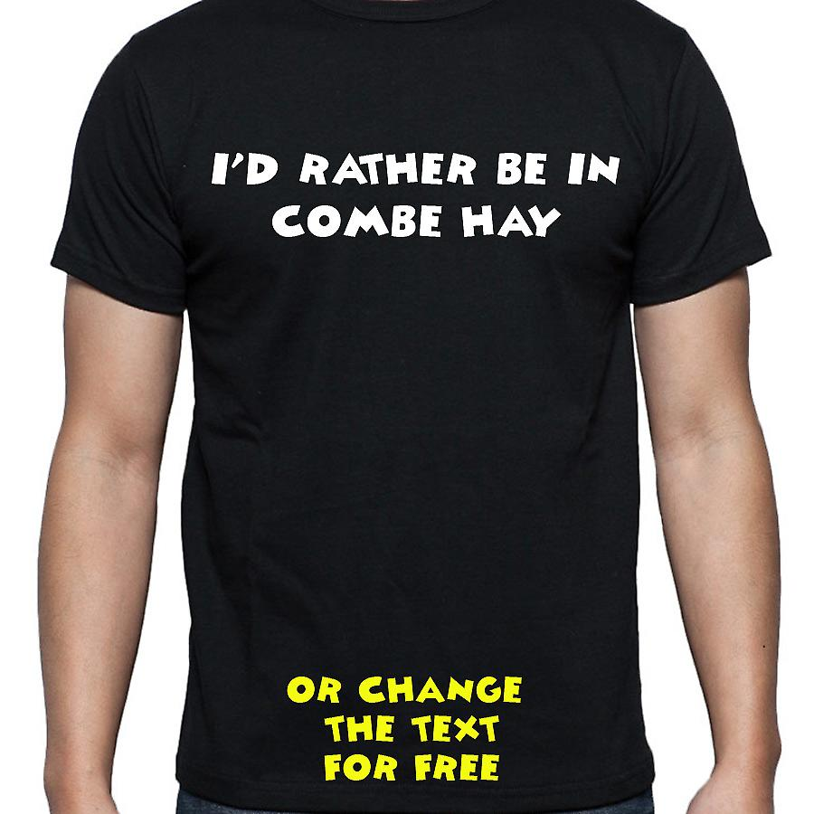 I'd Rather Be In Combe hay Black Hand Printed T shirt