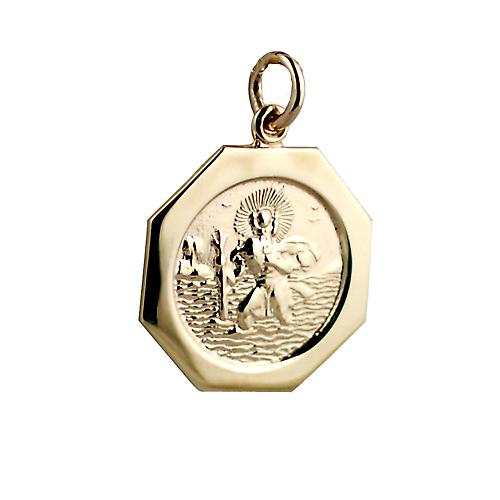 9ct Gold 21x21mm hexagonal St Christopher
