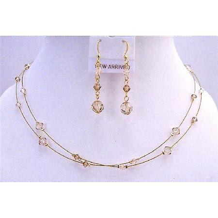 Golden Wire Jewelry Set Golden Shadow Lite Colorado & Silk Crystals