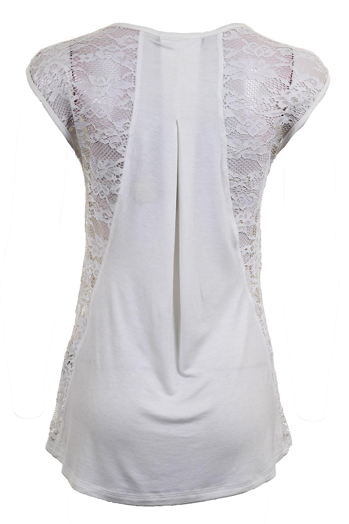 Ladies Cap Sleeve Lace Contrast Plain Floral Pattern Low Back Smart Evening Women's Top