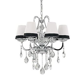 Ideal Lux - Domus Chrome And Crystal Six Light Chandelier With Black And White Shades IDL093147