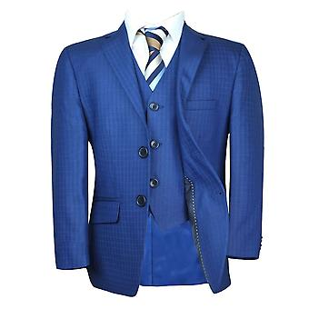 Boys Tailored Fit Checkered Blue Suit