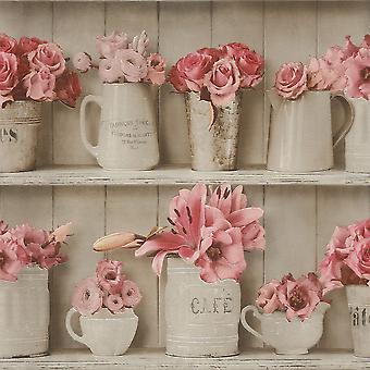 Houten bloempot Wallpaper afwasbaar Vinyl keuken badkamer tegel Beige Rose Rasch