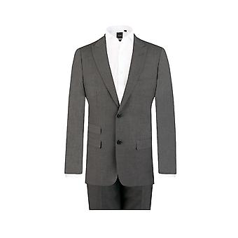 Dobell Mens Light Grey Travel/Performance 2 Piece Suit Slim Fit Peak Lapel