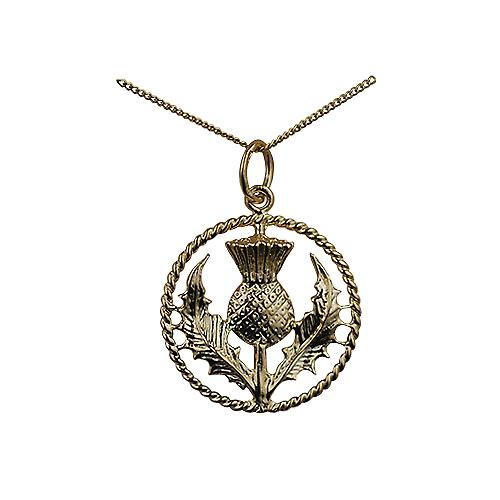 9ct Gold 19mm Scottish Thistle Pendant with a twisted wire surround with a Curb Chain 16 inches Only Suitable for Children