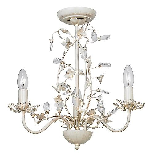 Endon LULLABY-3CR Lullaby Shabby Chic 3 Light Chandelier In Soft Cream Gold