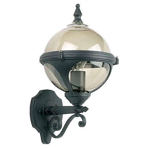 Endon YG-8000 Black Aluminium Outdoor Globe Up Wall Lantern With Smoked Diffuser