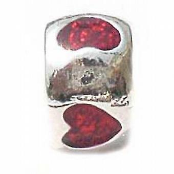 TOC beadz Red Heart 5mm Emaille Slide-on Bead