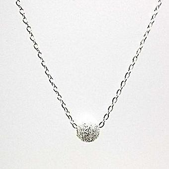 Toc Sterling Silver Frosted 8mm Ball Pendant on 18 Inch Chain