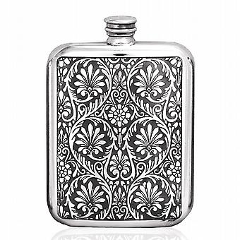 6oz VICTORIA LEAVES FLASK PEWTER - TSF612