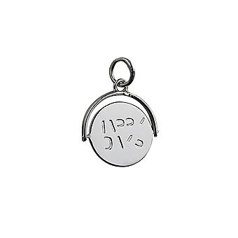 Silver 15x16mm round Happy Days spinning disc Pendant or Charm
