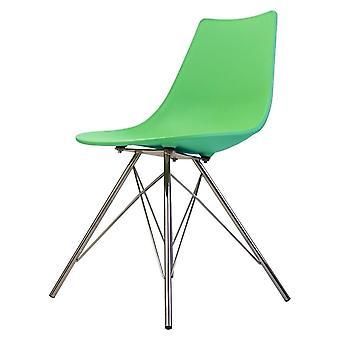 Fusion Living Iconic Peppermint Chaise à manger en plastique avec des jambes en métal chrome