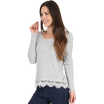 Superdry Ashby Lace Hem Long Sleeve Top Grey 11