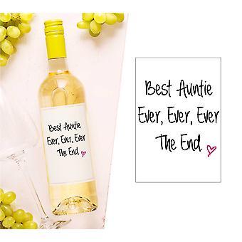 Best Auntie Ever Wine Bottle Label