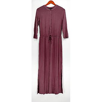 H par Halston Robe 3/4 Sleeve Button Detail Maxi Style Purple A275437