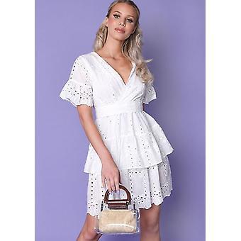 Frill Wrap frente broderie anglaise diferenciados mini vestido branco