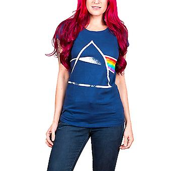 Pink Floyd T Shirt Dark side of the moon Official Womens New blue Skinny Fit