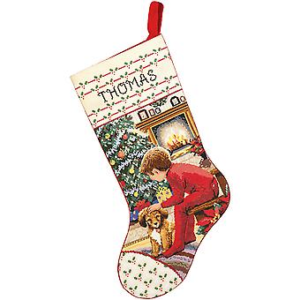 Waiting For Santa Stocking Counted Cross Stitch Kit 18