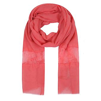 Coral Scarf With Lace Insert