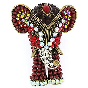 Stora röda Swarovski Crystal indisk elefant justerbar Ring