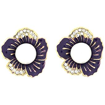 Clip sur le magasin de boucles d'oreilles émail violet, Crystal & perle fleur agrafe sur des boucles d'oreilles