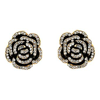 Clip On Earrings Store Clear Crystal and Black Enamel Rose Flower Clip On Earrings