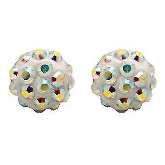 Butler and Wilson Small Round AB Pave Stud Earrings