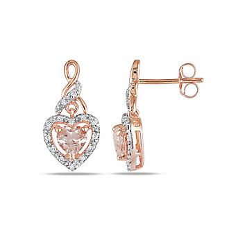 Affici Sterling Silver Drop Earrings 18ct Rose Gold Plated with Morganite Heart  CZ Gems