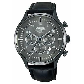 Lorus Mens Black Leather Strap Black Dial RT311FX9 Watch