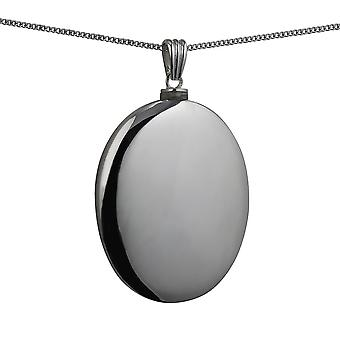Silver 45x35mm handmade plain oval Memorial Locket with a curb Chain 24 inches