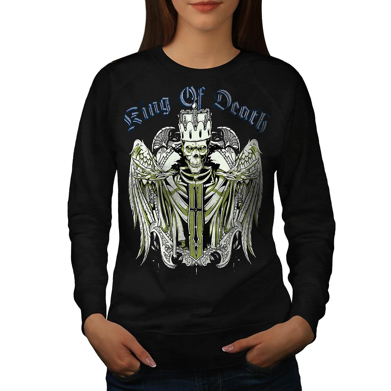 King Of Death Devil Skull Women Black Sweatshirt | Wellcoda