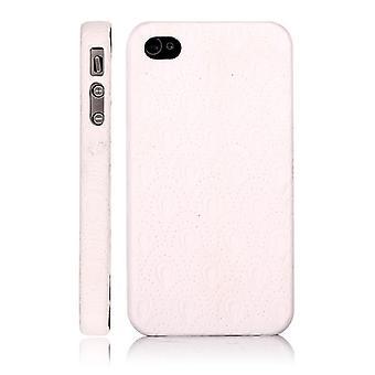 Harde plastic omslag en witte huid met reliëfs, voor iPhone 4/4s