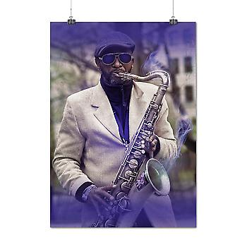 Matte or Glossy Poster with Saxophone Musician Music Music Play | Wellcoda | *q1136