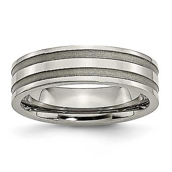 Titanium Grooved 6mm Brushed Polished Band Ring - Ring Size: 6 to 13