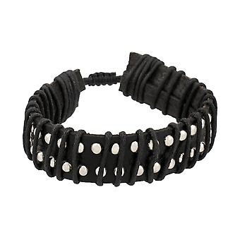 Black Leather Chrome Studded Adjustable Bracelet