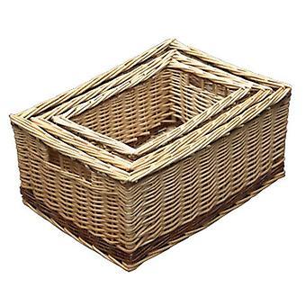 Sistema de almacenamiento Buff 3 cestas de mimbre con raya rústico