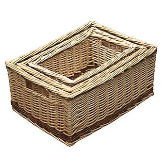Set of 3 Buff Storage Wicker Baskets with Rustic Stripe