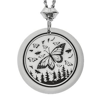 Handmade Monarch Butterfly Totem Round Shaped Porcelain Pendant ~ 22 inch Chain
