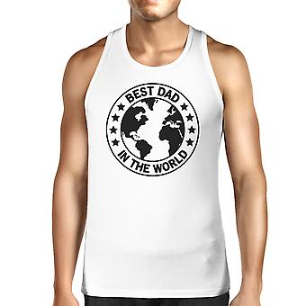 World Best Dad Mens White Cotton Tank Top Fathers Day Gift For Him