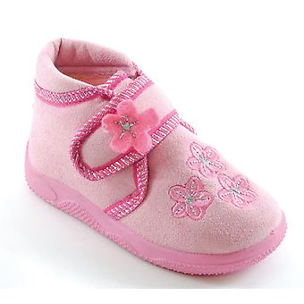 SlumberzzZ Girls Bootee Slipper With Touch & Close Strap Floral Motifs KT0803D