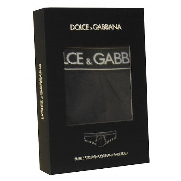 Dolce & Gabbana Pure Cotton Stretch Midi Brief, Black