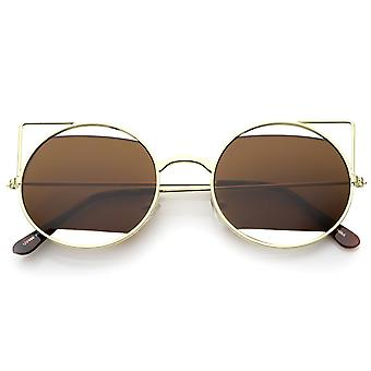 Women's Cutout Metal Open Frame Lens Round Cat Eye Sunglasses 52mm