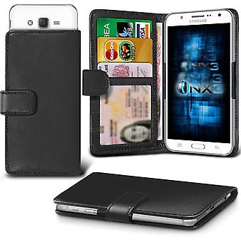 ONX3 Samsung Galaxy J2 Leather Universal Spring Clamp Wallet Case With Card Slot Holder and Banknotes Pocket-Black
