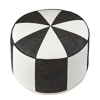 Seat cushion round stool furniture footstool Pouffe black / white faux leather 34 x 50 x 50