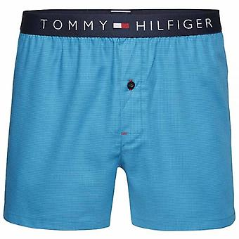 Tommy Hilfiger Icon Woven Boxer Houndstooth, Blue Danube, Large