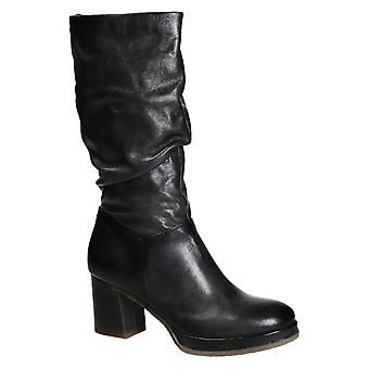 Handmade women's boots in dark grey shiny calf leather