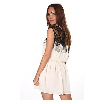 The Fashion Bible Katelin Chiffon Fringe Dress In Cream