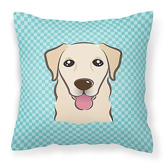 Checkerboard Blue Golden Retriever Canvas Fabric Decorative Pillow